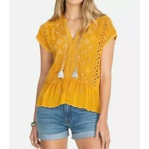 Johnny Was Eyelet Lace Embroidered Tassel Blouse L